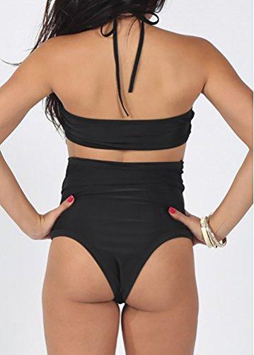 ZKOO Hollow out Trajes de Baño Dos Piezas Beachwear Traje cuello halter Bikini de Playa mujer Negro