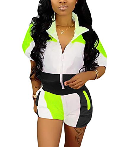 Movebuy Summer Windbreaker Short Sleeve Colorblock Zipper up Tops and Striped Short Pants Tracksuit Set