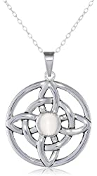 Sterling Silver Celtic Knot with Gemstone Center Pendant Necklace, 18""