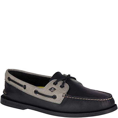 Eye Black Shoe - SPERRY Men's A/O 2-Eye Daytona Boat Shoe, Black/Grey, 13 Medium US