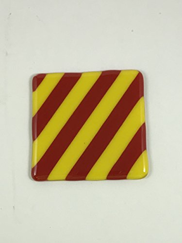 (Custom Four piece coaster set red and yellow diagonal striped fused glass one of a kind nautical flag letter Y)