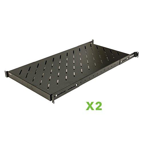 NavePoint 1U 19-Inch Fixed 4-Post Rack Mount Server Shelf With Adjustable Depth From 18-42 Set of 2 Black - 2 Post Rack Shelves