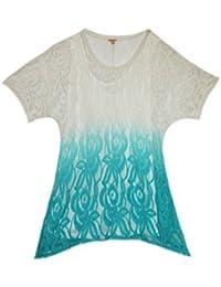 Women's Lace Silk Peplum Short Sleeve Tunic Top Blouse Turquoise White (S)