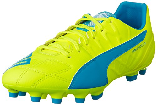 Puma Evospeed 3.4 Lth Ag - Botas de fútbol Hombre safety yellow-atomic blue-white