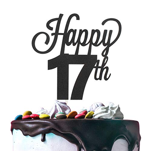 17th Happy Birthday Cake Topper Premium Double Sided Black Glitter Cardstock Paper Party Decoration