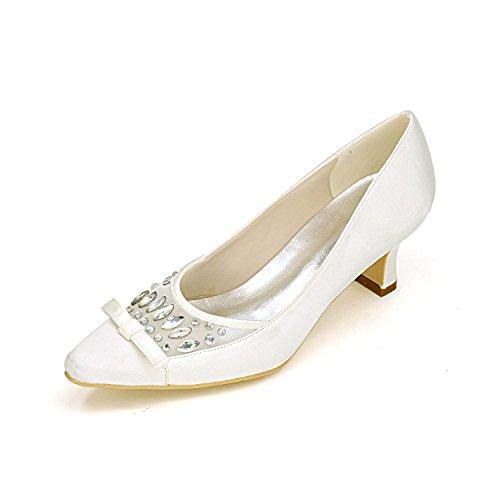 L@YC Tacones altos de las mujeres Primavera Verano otoño Invierno Plataforma Satén Wedding & Evening Fine Heel Platform White
