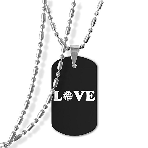 Jewelry Love Volleyball Dog Tag Military Zinc Alloy Pendant ()