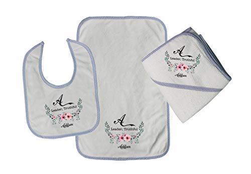 Personalized Custom Alphabet Letter Flower Leader Truthful Cotton Boys-Girls Baby Bib-Burb-Towel Set - Blue, One -