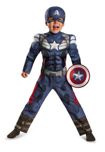 Captain America Halloween Costumes Toddler (Disguise Marvel Captain America The Winter Soldier Movie 2 Captain America Toddler Muscle Costume, Small (2T))