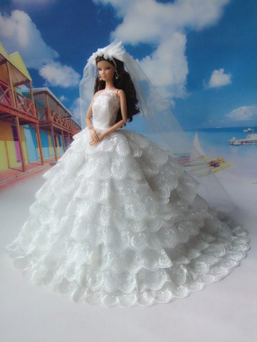 - Barbie Romantic Ball Gown Strapless Layers of Organza White Wedding Dress