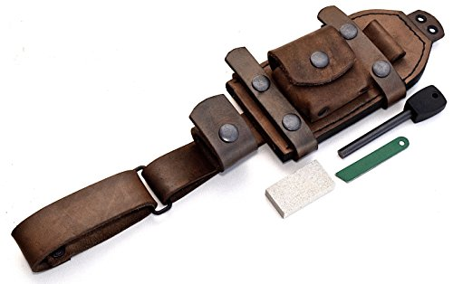 CFK Cutlery Company Handmade Dangler/Vertical/Horizontal Brown Leather Belt Sheath with Wet Stone and Fire Starter Set CFK1000 ()