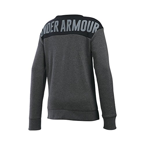Under Armour Girls' Favorite Fleece Crew, Carbon Heather/Black, Youth Small