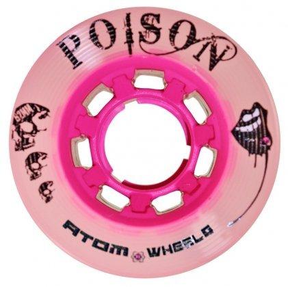 - Atom Poison Pink Roller Derby Skate Wheels W/ Bonus Devaskation Bag (59mmX38mm)