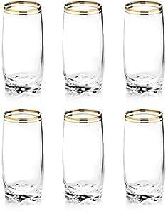 Zanzer 6-Piece Gold Highball Glass Cup Set