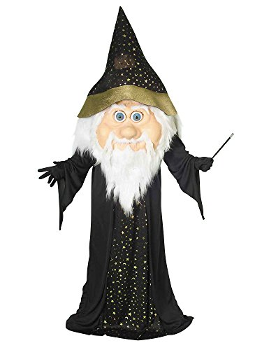 Forum Novelties Men's Plus-Size Oversized Wizard Costume, Black/Gold, Standard -