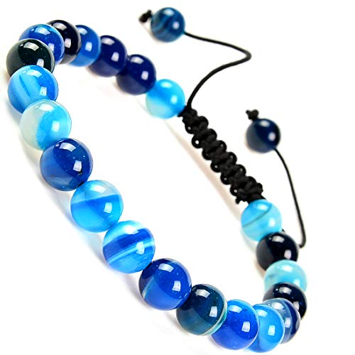 Massive Beads Natural Healing Power Gemstone Crystal Beads Unisex Adjustable Macrame Bracelets 8mm (Agate Blue)
