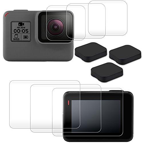 Screen Lens Protectors Compatible GoPro Hero 7 6 Lens Caps, AFUNTA 3 Packs (6 Pcs) Anti-Scratch Tempered Glass Film Accessory 3 pcs Lens Cover Compatible Hero 6 Action Camera