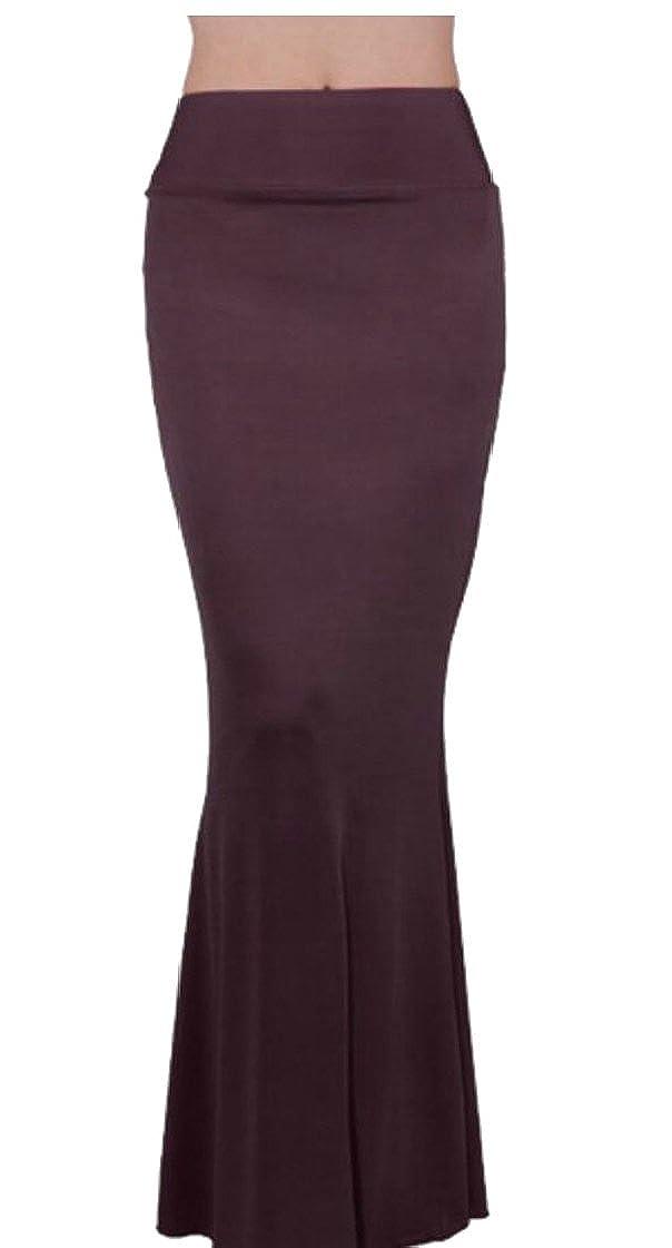 M/&S/&W Womens Rayon Mermaid Fold Over Elastic High Waist Bodycon Floor Length Maxi Evening Skirt Dress