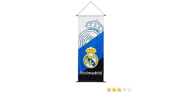 STER-TSP - Bandera del Real Madrid con Bandera de fútbol Vertical, Color Blanco: Amazon.es: Deportes y aire libre