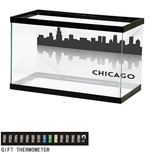 wwwhsl Aquarium Background,Chicago Skyline,Downtown Skyscrapers Illinois Tourism Travel Country Urban Minimalist,Black and White Fish Tank Backdrop 30