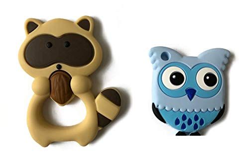 Silly Cow Baby Teething Toys. 100% Silicone, BPA & Phthalates Free Teether Highly Recommended Moms, FDA Complaint. Raccoon Combo Sore & Ichy Gums (Brown Raccoon & Owl)