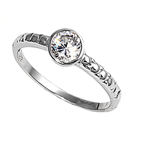 (Round Bazel Set Cubic Zirconia Center Ring 925 Sterling Silver Size)