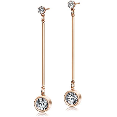 Ciunofor Drop Earrings for Women Girls Dangle Earrings Stainless Steel CZ Earrings Gold Plated Earrings (Red)