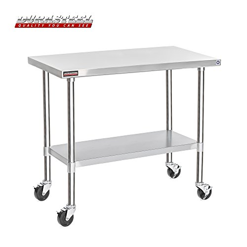 "DuraSteel Stainless Steel Work Table 24"" x 48"" x 34"" Height w/ 4 Caster Wheels -  Food Prep Commercial Grade Worktable - NSF Certified - Good For Restaurant, Business, Warehouse, Home, Kitchen, Garage from DuraSteel"