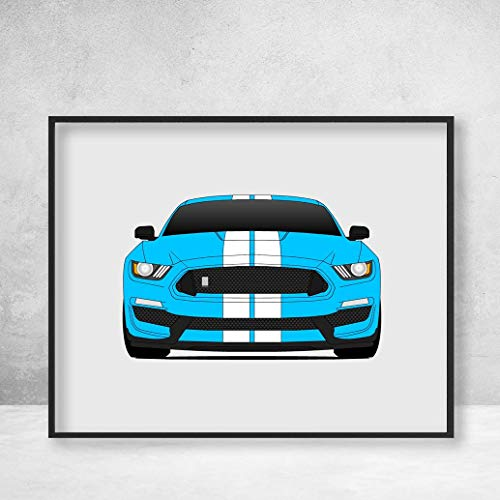 (Shelby GT350 S550 Ford Mustang (2015-2018) Poster Print Wall Art Decor Handmade Carroll Shelby)