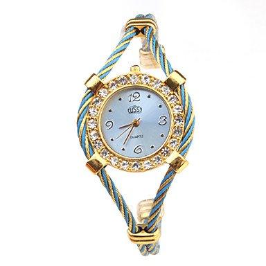 reloj de cuarzo con correa de reloj de metal cuerda - azul: Amazon.es: Relojes
