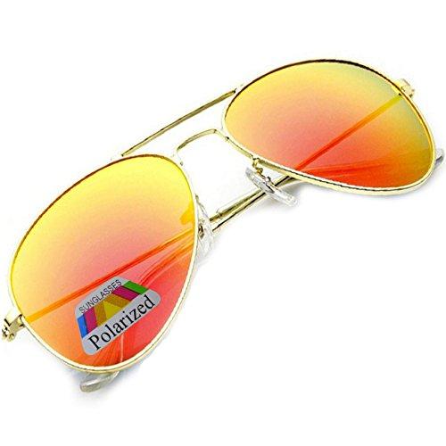 gafas sol Ltd unisex Polarized la Gafas de Talla estilo Morefaz única moda de espejo colores diversos de piloto a Orange w4x5qZIA