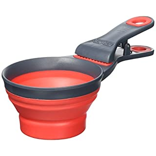 Dexas Collapsible KlipScoop, 1 Cup Capacity, Red