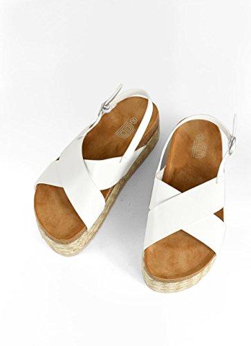 Plataforma Suela Bosanova para Veraniega Bicolor Cerrada con Trenzada Blanco Mujer Sandalia y gOwFOqBI