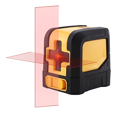 Laser Level Self-leveling Horizontal/Vertical Line and Cross-Line With Red Light Source,Adjustable Mounting Clamp,Carrying Pouch