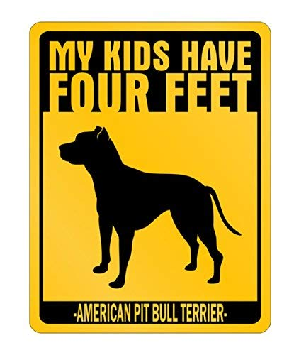 My Kids Have Four Feet American Pit Bull Terrier - Dogs - Parking Sign Aluminum Metal