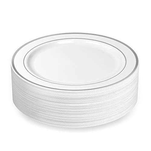 White China Plate - 50 Plastic Disposable Dinner Plates | 10.25 inches White with Silver Rim Real China Look | Ideal for Weddings, Parties, Catering | Heavy Duty & Non Toxic (50-Pack) by BloominGoods