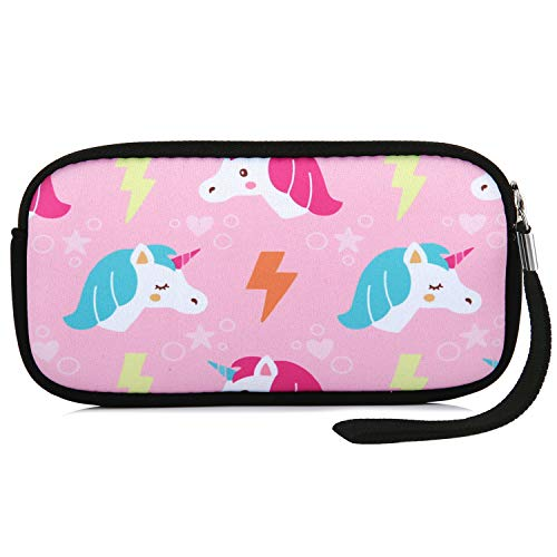 Neoprene Coin Pencil Purse Pouch Waterproof Cosmetic Bag Wallets for Women Girls (Pink ()