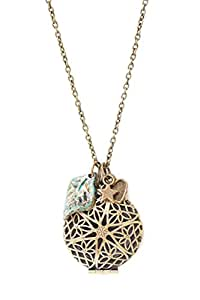 """Antique Bronze 30"""" Chain (Essential Oils) Diffuser Locket Necklace with Three Charms Aromatherapy"""