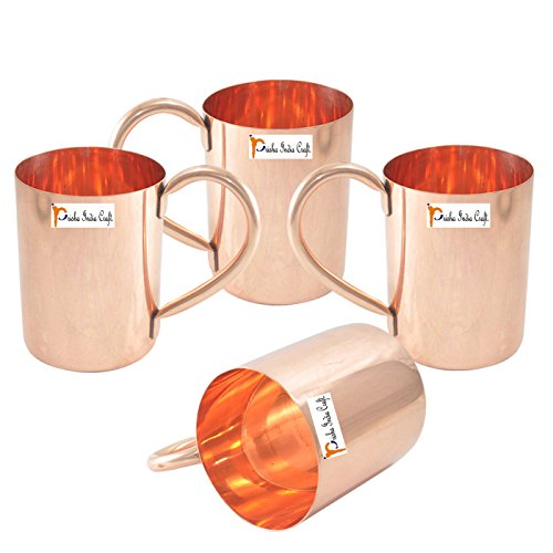 Prisha India Craft    Set Of 4  Copper Mug For Moscow Mules 475 Ml   16 Oz   100  Pure Copper   Lacquered Finish   Solid Copper Best Quality Moscow Mule Mug