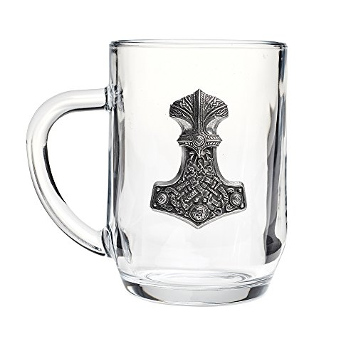 Warriors Weapons Viking (Dining Glassware Beer Ale Glass 3D Gothic Medieval Thor's Hammer Norse God Viking Legend)