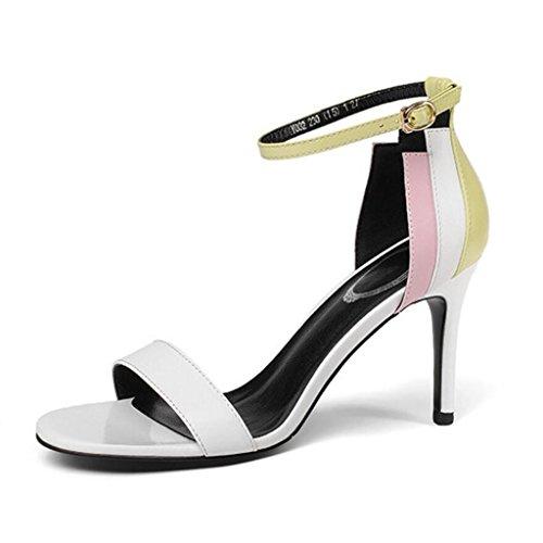ccbb0bb6 Envio gratis GAOLIXIA Sandalias de cuero del dedo del pie abierto de las mujeres  Bombas de la manera del estilete del verano hebilla de tacones altos ...