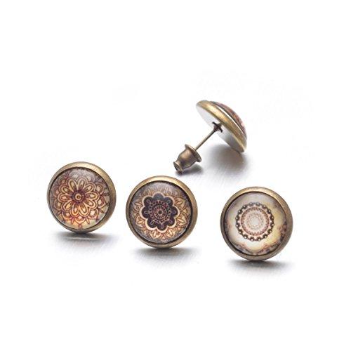 FORESTEEL Bijoux 3 paires / 6pcs Boucles d'oreilles faits à la main Rétro alliage avec Mehndi Henna Motif Art Pour Hommes Femmes
