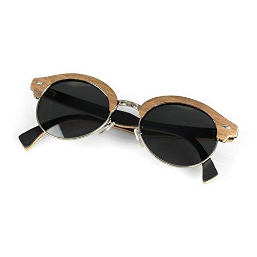Viable Harvest Women's Wood Sunglasses, Designer Frames with Polarized Lenses and Wooden Gift Box (Walnut, black)