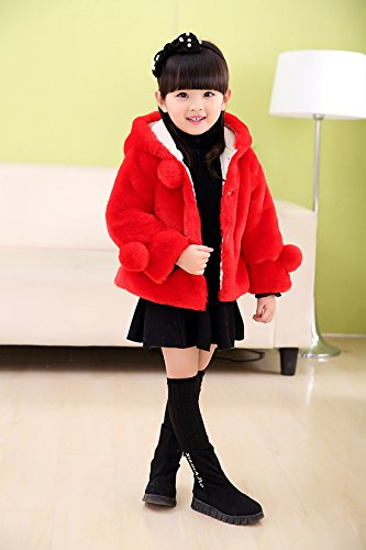 Girls Faux Fur Jacket Hooded Cloak Coat Thick Warm Winter Outerwear Princess Cape For 1-8 Years Kids by Gaorui (Image #2)