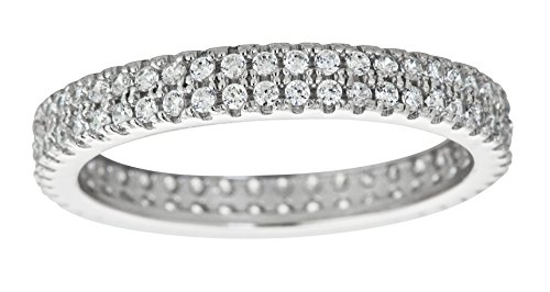 (Sterling Silver 2 Row Concave Micropave Eternity Band Stackable)