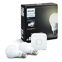 Philips 455287 Hue White Starter Kit, 2 Bulbs and 1 Bridge, Works with Amazon Alexa