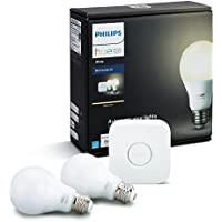 Philips Hue White A19 60W Equivalent Dimmable Smart LED Bulb Starter Kit with 2 LED Light Bulbs & 1 Hub