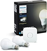 Philips Hue White A19 60W Equivalent Dimmable LED Smart Bulb Starter Kit (2 A19 60W White Bulbs and 1 Hub Comp