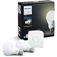 Philips Hue White A19 60W Equivalent Dimmable LED Smart Light Bulb Starter Kit (2 A19 60W White Bulbs and 1 Bridge, Works with Alexa, Apple HomeKit, and Google Assistant
