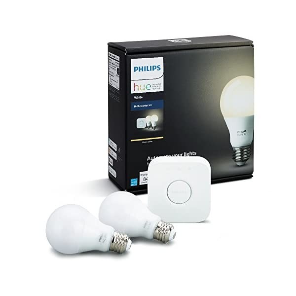 Philips Hue White A19 60W Equivalent Dimmable LED Smart Bulb Starter Kit (2 A19 60W White Bulbs and 1 Hub Compatible… 1